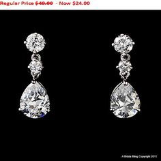 40% OFF SALE Bridal Wedding Earrings with Cubic Zirconia Pear Shaped drop Earrings - Bridal Accessory Jewelry. $24.00, via Etsy.