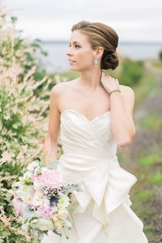 Classic Bridal updo. French's Point, Maine.  Hair by Colleen of Aphrodite Salon, Portland, Maine  Photo by Rebecca Arthurs Photography  Venue: French's Point