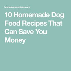 10 Homemade Dog Food Recipes That Can Save You Money