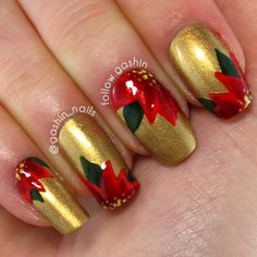 Nail art is a great way of styling when going for a party or hangout. From the beginning of nail art industry, red and gold have been continuously used by every nail artist around the world. Red and gold nails are the epitome of classic luxury. Gold Nail Designs, Christmas Nail Art Designs, Holiday Nail Art, Winter Nail Designs, Nails Design, Red Christmas Nails, Xmas Nails, Gold Christmas, Christmas Ideas