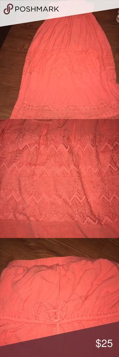 Torrid size three long strapless dress Coral dress super cute and has a string under the bust to tighten if needed torrid Dresses Strapless