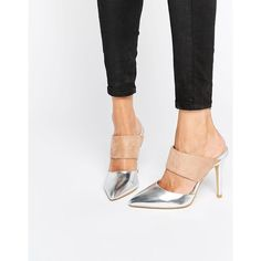 True Decadence Metallic Heeled Mules ($47) ❤ liked on Polyvore featuring shoes, silvertaupe, pull on shoes, high heel mules shoes, slip on shoes, pointed toe high heels shoes and high heel shoes