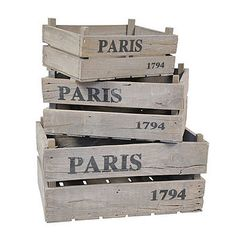 Paris Rustic Wooden Crates by The Orchard   £19