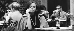 """Photos by Bill Rauhauser. Woman smoking - """"Often, in the afternoon, I'd grab a cup of coffee at the Kresge Court inside the Detroit Institute of Arts. There were always beautiful women there talking and smoking. Sometimes they looked like movie stars."""""""