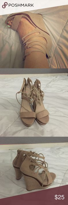 "Just Fab wedges Faux nude suede wedges. I only wore them once in excellent condition. Ties at top and zips in back.5.5"" heel Shoes Wedges"