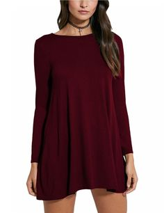 Women's Round Neck Long Sleeve Loose Swing Short Dress Wine red S
