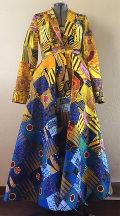 Gold Dust Woman African Wax Print Patchwork Floor Length Coat Dress Cotton With Pockets and Belt Lined African Fashion Designers, African Print Fashion, African Fashion Dresses, Ethnic Fashion, Fashion Outfits, Fashion Hacks, African Prints, African Wear, African Attire