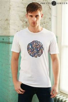 Pretty Green White Paisley Logo T-Shirt