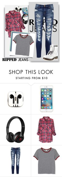 """""""Ripped Jeans"""" by riddle-me-this07 ❤ liked on Polyvore featuring PhunkeeTree, Beats by Dr. Dre, Current/Elliott, Monki, Dr. Martens and rippedjeans"""