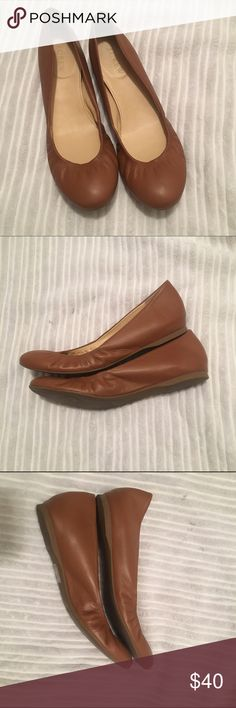 J Crew Tan Leather Flats EUC These J Crew Flats are in near perfect condition as demonstrated in picture. They are Tan - Burnt Sienna. They are the CeCe style flat before J Crew starting making them in Italy. J. Crew Shoes Flats & Loafers