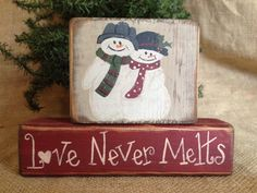 Primitive Country Snowmen Snowman Couple Love by DoughAndSplinters