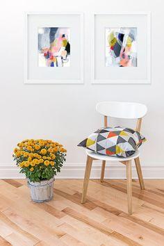 Pintura abstracta, conjunto de dos impresiones del Giclee. Resumen arte de la pared 8 x 10 impresión de Bellas Artes, arte infantil, arte abstracto colorido impresión. Geométrica.