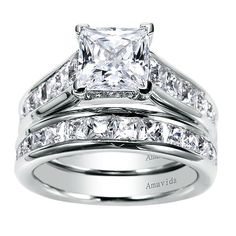 Giovana 18k White Gold Princess Cut Straight Engagement Ring angle 4