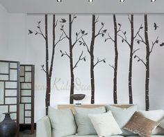 Muurstickers - Wall decal wall sticker-6 birch trees with birds - Een uniek product van dreamkidsdecal op DaWanda