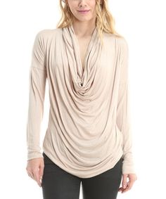 Love this Taupe Cowl Neck Top on #zulily! #zulilyfinds