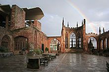 Coventry Blitz - The ruins of the old Coventry Cathedral, the most visible reminder of the Blitz