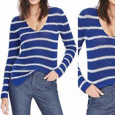 74e62f510a0 Banana Republic Chunky Stripe Linen Vee Ocean Blue Sweater 31% off retail