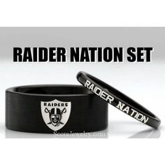 Couple Set 8mm and 2mm Black Tungsten Bands with Flat Edge NFL Football Oakland Raiders Logo and Raider Nation Rings