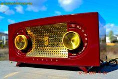 MP3 READY BURGUNDY Retro Vintage 1954 Zenith Model R511R AM Tube Radio Totally Restored! by RetroRadioFarm on Etsy