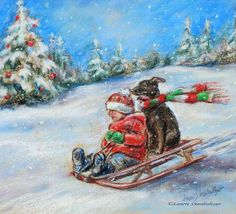 Christmas Sleigh Ride Snow | CHRISTMAS SLED RIDE snow scene child and dog by LaurieShanholtzer, $18 ...