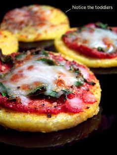 * made these for lauren, she loved them in her lunch box! Pesto, fresh mozzarella,and pine nuts. And tomato sauce, fresh mozzarella and pine nuts. , she liked these better than pita pizzas. *.Polenta pizza bites