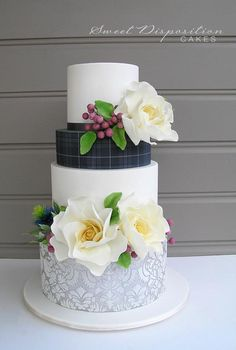 Beautiful Cake Pictures: Tartan, Lace & Flowers: Cakes with Flowers, Patterned Cakes, Wedding Cakes