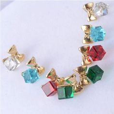 4 Color Trendy Gold Punk Ocean Blue Blocks Crystal Stud Earrings For women Fashion Jewelry //Price: $8.99 & FREE Shipping // #jewelry #jewels #jewel