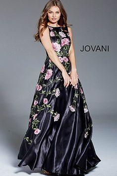 348da89ee29 Black Multi Floral Boat Neck Evening Dress 48426