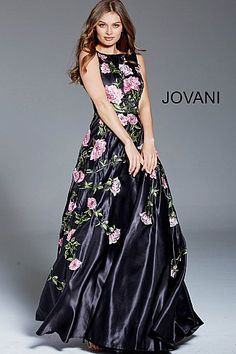 05750ff52b2 Black Multi Floral Boat Neck Evening Dress 48426