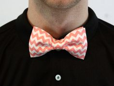 Handmade Coral and Light Pink Chevron Bow Tie by TheYellowPelican, $7.00