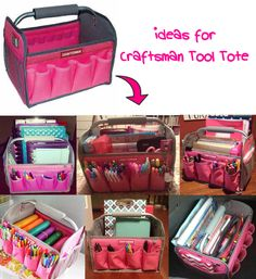 (Ideas for Craftsman Tool Tote.) Omg I could use it for my planner stuff! Craft Room Storage, Craft Organization, Bag Storage, Storage Ideas, Craft Rooms, Tool Storage, Classroom Organization, Tool Tote, Mobile Office