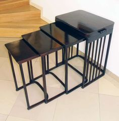 Nesting table by Josef Hoffmann | From a unique collection of antique and modern nesting tables and stacking tables at https://www.1stdibs.com/furniture/tables/nesting-tables-stacking-tables/