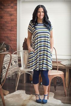 Image of Striped Back Detail Tunic with Pockets