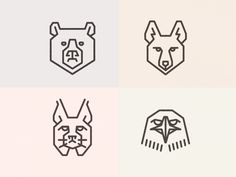 Bear, Coyote, Bobcat, Hawk by Bryan Butler Line Design, Icon Design, Coyote Tattoo, Geometric Bear, Wine Logo, Bear Graphic, Magic Symbols, Bear Logo, Time Tattoos