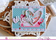 Shaker card with hearts in pink and mint.