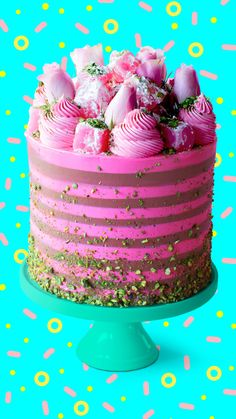 Turkish Delight Cake Turkish or not, this cake is an absolute delight! Crazy Cakes, Fancy Cakes, Turkish Delight, Fun Baking Recipes, Sweet Recipes, Cake Recipes, Cute Desserts, Delicious Desserts, Cake Cookies