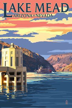 Lake Mead, Nevada / Arizona - Paddleboat and Hoover Dam - Lantern Press Poster