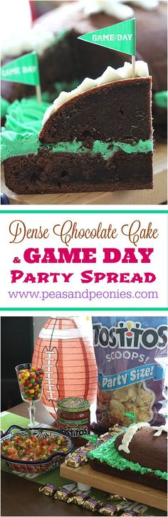 Dense Chocolate Cake and Game Day Party - Peas and Peonies #GameDayGlory #ad