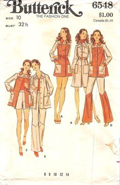BUTTERICK 6548 - FROM TTHE 70s - UNCUT - MISSES DRESS, TOP, TROUSERS AND SHORTS