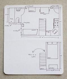 The couple's hand-drawn floor plan. (Photo: Erin Boyle / Readingmytealeaves.com)