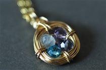 Birthstone necklace Family Nest 4 stones