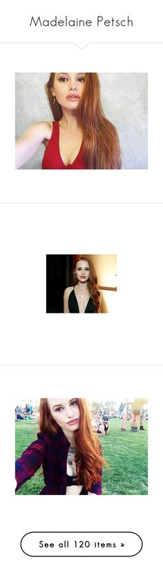 """""""Madelaine Petsch"""" by imawkwardhey ❤ liked on Polyvore featuring madelaine petsch, beauty products, makeup, riverdale, jewelry, brooches, redheads, tops, ginger tops and heart tops"""