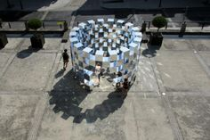"""ECHAPEES BELLES-RING II 2014 Mirrors installation, Art Festival in ALENÇON Wood panels & mirrored alucobon. 114 mirror cubes. - Dimensions: 450 x 450 x 450 mm ( cubes) 5000 x 5000 x 4500 mm …………………………………………………….. ART INSTALLATION, AUDI FRANCE SPONSORSHIP PRESS PHOTO PRESS VIDEO …………………………………………………….. From July 15th to 26th 2014 will be held at The Echapées belles in Alençon.This festival offers a free contemporary art trail. Consisting of sculptures and videos, """"Face àFace&rdquo..."""