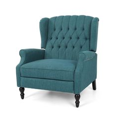 Shop Apaloosa Oversized Tufted Fabric Push Back Recliner by Christopher Knight Home - On Sale - Overstock - 26474488 - Teal Cushion + Dark Brown Living Room Chairs, Living Room Furniture, Teal Cushions, Coastal Furniture, Unique Furniture, Furniture Ideas, Buy Chair, Chair Types, Armchair