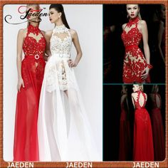PP035 Hot Sale New Design Two Style In One Dress Sexy Prom Dresses Backless Cocktail Party Dresses 2014 Custom High Neck $129.00