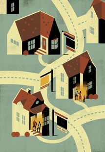 Keith Negley - Shapes. How buildings are handled. Skewed perspective.