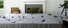Crow Linen Tablecloth by Huddleson on Etsy, $295.00