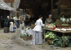 Victor-Gabriel Gilbert (French, 1847-1935) Le marché aux légumes