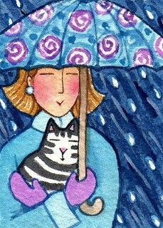Cat Lady and Tabby with Umbrella Original ACEO watercolor art by Susan Faye Crazy Cat Lady, Crazy Cats, Illustrations, Illustration Art, Rain Art, Umbrella Art, Parasols, Cool Cats, Cats And Kittens