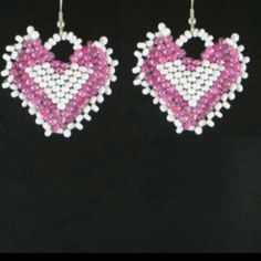 LOVELY HEART BEADED HANDMADE DANGLE EARRINGS New without tags Jewelry Earrings
